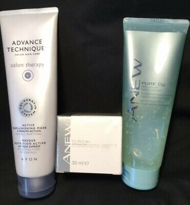 AVON  ANEW PURE 02 DAILY OXYGEN FACIAL CLEANSER 125ml,CLINICAL WRINKLE CREAM 30m
