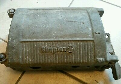 vintage old industrial simplex cast iron fuse box switch 30 cm long