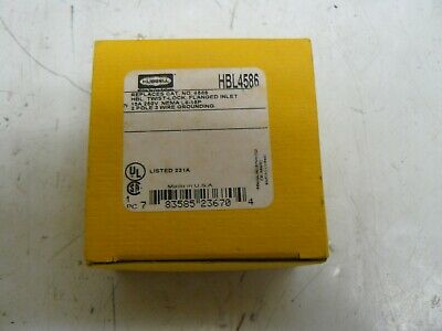 Hubbell HBL4586 twist lock flanged inlet 15A 250V 3 wire new