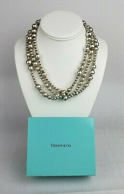 Vintage Tiffany & Co RARE Sterling Bead Ball Necklace Triple Strand Toggle Clasp