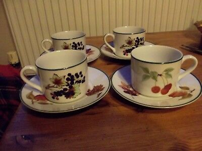 royal worcester evesham vale cups and saucers x 4