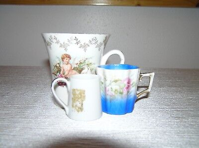 Vintage Lot of 3 Small White Orange Flower Pitcher Blue with Pink & Cherub Cups