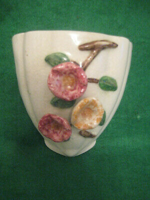 1950's Pottery Wall Pocket Applied Flower Decoration
