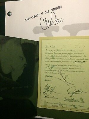 X-FILES - AUTOGRAPHED SCRIPT BY CHRIS CARTER - Gillian Anderson Benefit Charity!