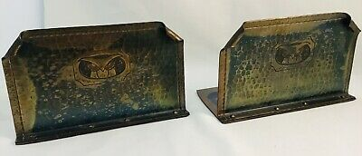 Roycroft Hammered Copper Bookends Rectangular Tooled Owl Arts & Crafts Era