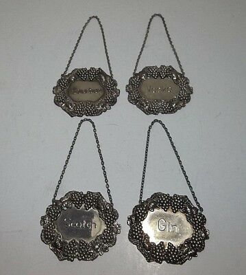 Vintage Godinger SILVERPLATED  LIQUOR Decanter Tags BOURBON VODKA SCOTCH GIN