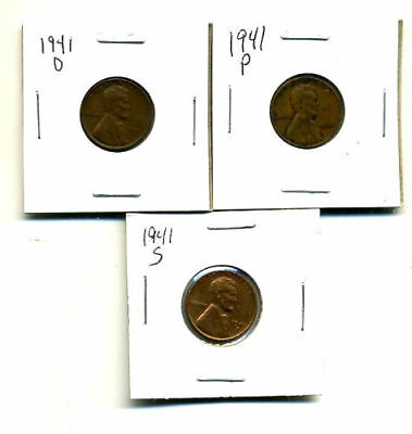 1941 P,d,s Wheat Pennies Lincoln Cents Circulated 2X2 Flips 3 Coin Pds Set#1311