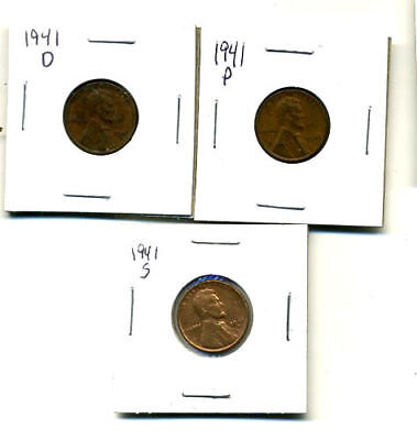 1941 P,d,s Wheat Pennies Lincoln Cents Circulated 2X2 Flips 3 Coin Pds Set#1307