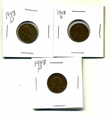 1948 P,d,s Wheat Pennies Lincoln Cents Circulated 2X2 Flips 3 Coin Pds Set#994
