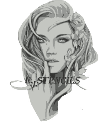Multilayer STEP BY STEP airbrush stencil tattoo Face of beauty