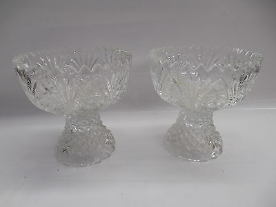 Pair Of Vintage Matching Glass Bowls Nice Intricate Pattern