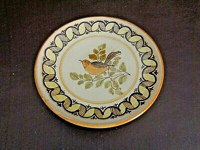 Vintage Hanging Hand Painted Bird Plate Made In Grottaglie, Italy (#3A025)