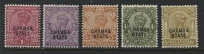 India KGV 1913 overprinted Chamba State various 1 to 6 annas mint o.g.