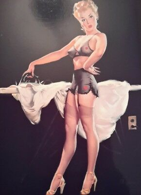 """VINTAGE PIN UP GIL ELVGREN IRONING 7x5"""" PICTURE PRINT WALL ART"""