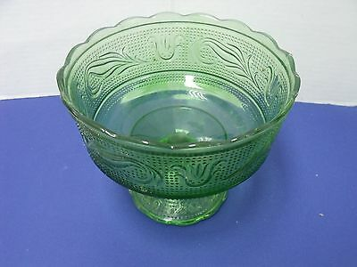 Vintage EO Brody Co green footed pressed glas comote dish