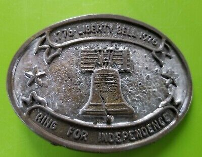 """1776 Liberty Bell 1976 """"Ring for Independence"""" Belt Buckle Patriotic #813"""