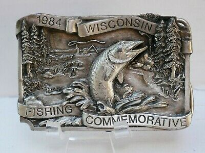1984 Wisconsin Fishing Commemorative Belt Buckle Ltd Ed 364/1000 with Stand