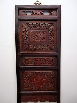 One Pair Antique Chinese Bedframe,  Wood Panels For Wall Deco 19c  (bb119,120)