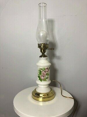 Vintage milk glass floral hurricane 3 way lamp with night light