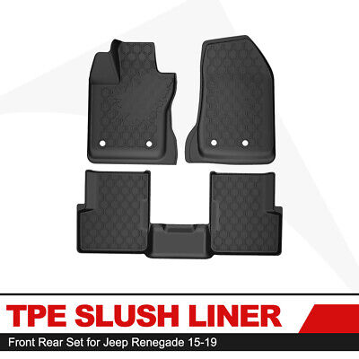 KIWI MASTER Floor Liners TPE Slush Front Rear Mats for 2015-2019 Jeep Renegade