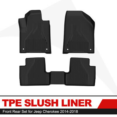 KIWI MASTER Floor Liners TPE Slush Mat Front Rear Mats for 14-18 Jeep Cherokee