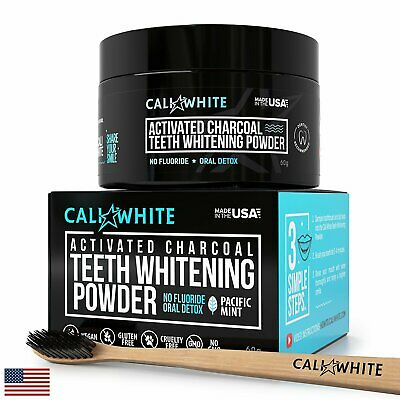 Cali White Activated Charcoal Teeth WHITENING Powder Bundle Kit - Made in USA -