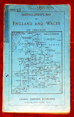 "STANFORD'S 1"":2 MILE LINEN BACKED DISSECTED MAP OF CHESHIRE 1920's"