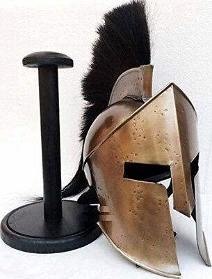 Armor King Spartan Helmet Black Plume With Wooden Stand Halloween Costume