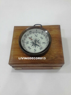 Maritime Handmade Solid Brass pocket Compass  with Wooden Box