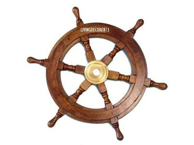 "24"" Wooden Ship Wheel Maritime Captain Pirate Decor Ships Boat Steering Wood"