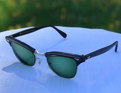 Vintage American Optical AO 12k Gold Filled Horn Rimmed Sunglasses Rx Green Lens