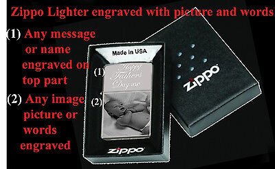 Personalised Zippo Lighter With Photo & Or Words Engraved (High Polish Chrome)