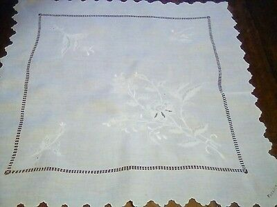 Antique Finest  Linen Floral Hand Embroidered Table Topper small  table cloth
