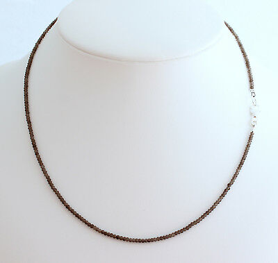 Smoky Quartz Necklace Precious Stone Facetted Ball Necklace Brown Gift