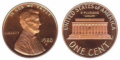 1980 S GEM BU PROOF Lincoln Memorial BRILLIANT UNCIRCULATED PENNY US COIN PF