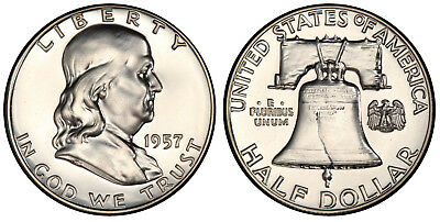 1957 Pr Pf Franklin Half Dollar Proof Gem Bu Uncirculated Silver Coin Mint State