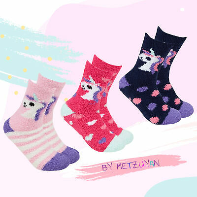 Ladies Cosy Fluffy Socks Non Slip Grippers Winter Warm Soft Unicorn Animals 4-8