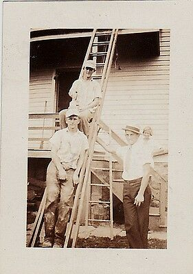 Old Vintage Antique Photograph Three Men Sitting on Ladder Painting House 1932