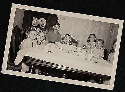 Vintage Antique Photograph Adorable Little Children At Table in Retro Room