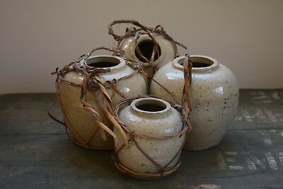 Antique Korean Stoneware Ginger Jar pots raffia hangers,Vintage Stoneware,Asian