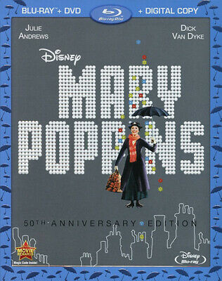 Mary Poppins (1964 Julie Andrews) (2 Disc, + DVD, 50th Anniversary) BLU-RAY NEW