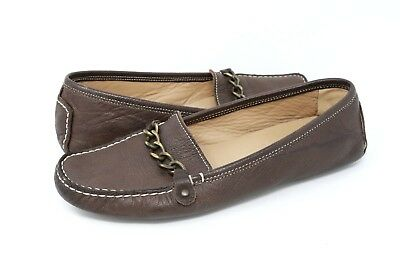 d228ba8d3fa J Crew Womens Brown Driving Loafer Moccasin Chain Horsebit Italy Made Size 8