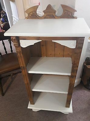 Vintage Pine and cream Solid wood detailed bookcase display CD DVD shelves unit