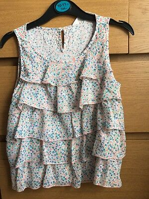 Girls age 9-10 years peach and blue coloured frilly top from H&M
