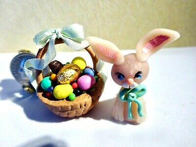 Easter Basket w/ Easter Bunny, Eggs, Candies -Jackie Ann's Miniatures #M284