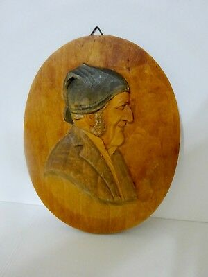Vintage Possibly Black Forest Germany Unsigned Wood Carved Plaque of Male #E62