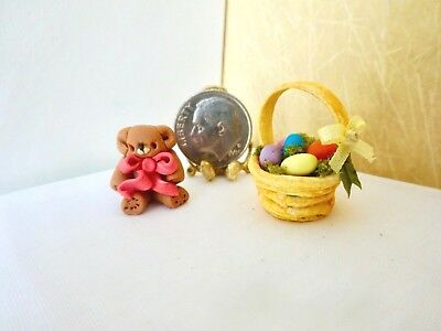 Easter Basket w/ Easter Tedy Bear Eggs & Candies -Jackie Ann's Miniatures #M285
