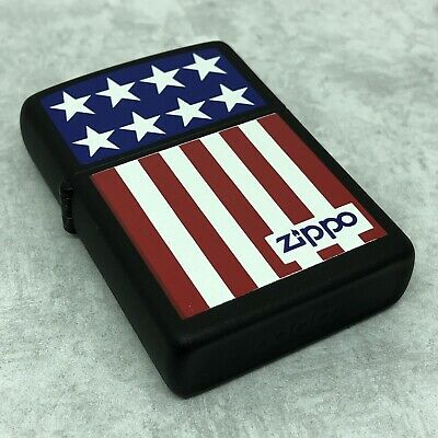 a6856bdc203a 1994 Zippo Lighter - Stars   Stripes - US Flag Design - Black Matte -  Unfired