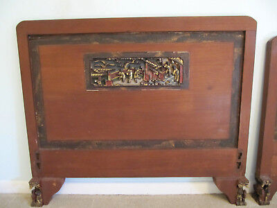 Antique Chinese Carved Rosewood Wedding Bed Headboard Footboard Gilt Panels Feet