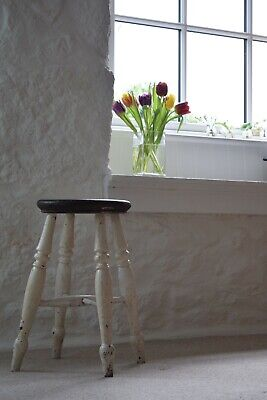 Vintage Farmhouse Stool,White Painted,Antique Stool,Shabby Chic,Original Paint,